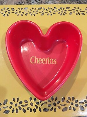 General Mills 2001 Cheerios Cereal Bowl, Red Heart Shaped