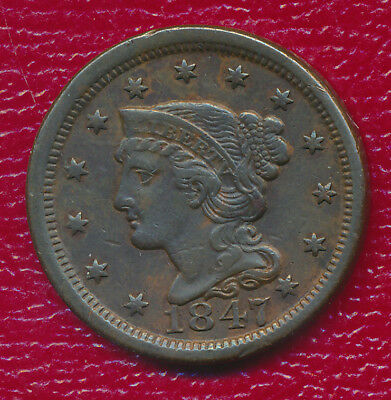 1847 Braided Hair Large Cent **very Fine Type Coin** Free Shipping
