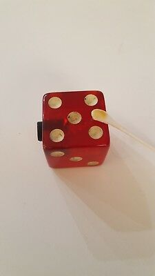 """Vintage Old Large Jumbo Cherry Red Dice display  Lucite rare 1.5"""""""