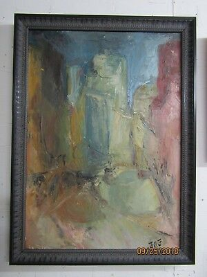 Original MID CENTURY MODERN impressionist abstract oil painting canvas Signed