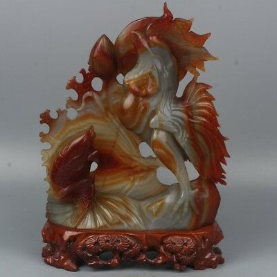 Chinese Exquisite Hand-carved Rooster and carp carving agate statue
