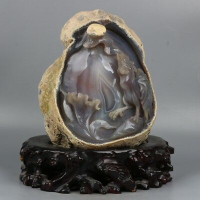 Chinese Exquisite Hand-carved rooster carving Agate statue
