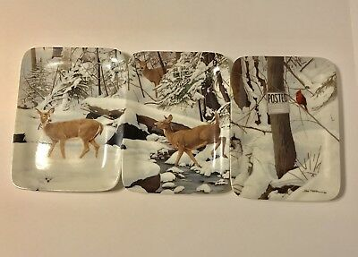 Danberry Mint Whitetail Deer Collectors Plates Early Winter crossing Bob Travers