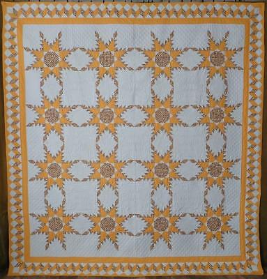 Master Quiltmaker! Vintage Cheddar & White Feathered Star QUILT Willow Trees