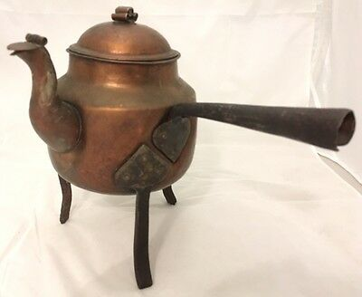 Sweden 1900s Arts & Crafts Hammered Copper Coffee Pot Iron Footed Antique CFOs
