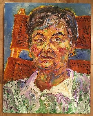 "Old Lady Portrait Painting Unknown Artist Impressionism 20.5""x16"" Oil or Acrylic"