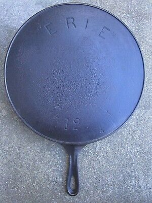 Early Old Antique Erie Griswold 12 Cast Iron Skillet Large Frying Pan W Spouts