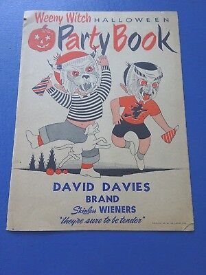 1951 Weeny Witch Halloween Party Book with Masks, David Davies Skinless Weiners