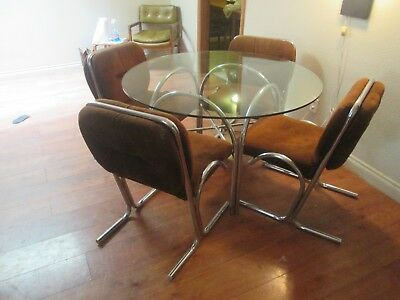 Vtg Mid Century Modern Jerry Johnson Baughman Chrome Waterfall Table & Chairs
