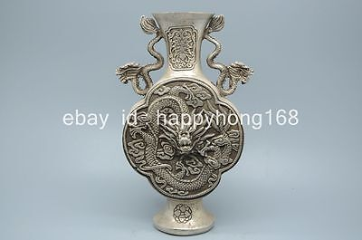 Chinese old copper plating silver hand-carved dragon vase e01