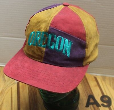 """Funky Faux Suede Leather """"oregon"""" Hat Multi Colored Snapback Vgc A9"""