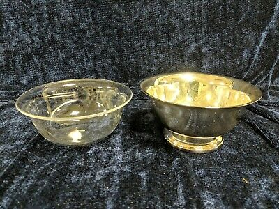 "Vintage WALLACE Silverplate Paul Revere Bowl 6"" - with Liner - Made in USA"