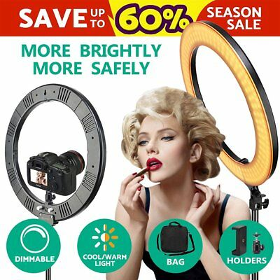"LED 12"" Ring Light 6200K Dimmable + Universal Adapter w/US Plug Makeup Youtube"