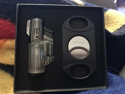 Vertigo Triple Torch Cigar Lighter, New and Big Daddy Cigar Cutter Gift Box