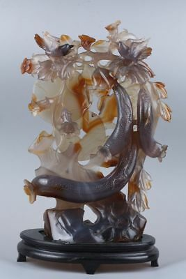 Very fine exquisite large natural agate hand carved bird & flower statue