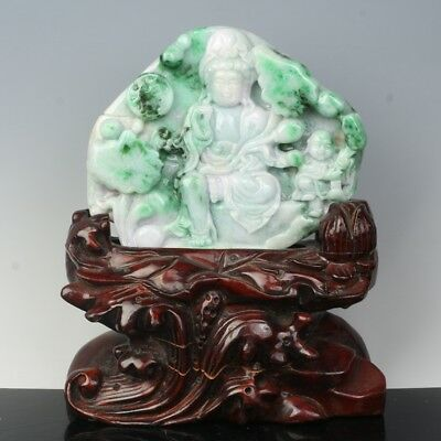 Chinese Exquisite Hand-carved Guanyin and Lotus carving Jadeite Jade Statue