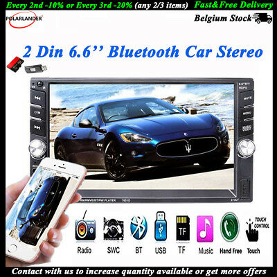 2 Din MP5 Player  Bluetooth  FM  Touch Screen  Car Radio  USB/AUX/SD  Stereo