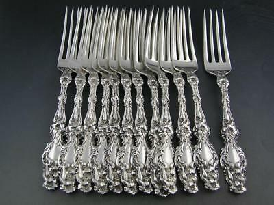 "12 Sterling WHITING 6 3/4"" Forks LILY 1902 w/ pat date & retailers mark ~no mono"