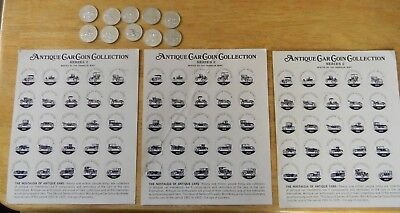 SUNOCO ANTIQUE CAR COIN COLLECTION SERIES 2 HOLDERS LOT + 10 Coins Series 1 & 2