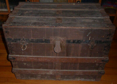 Vintage Leather Covered Trunk with Curved Top