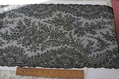 """Antique Old Black c1860 French Alencon Handmade Lace Scarf Or Flounce~95""""X14"""""""