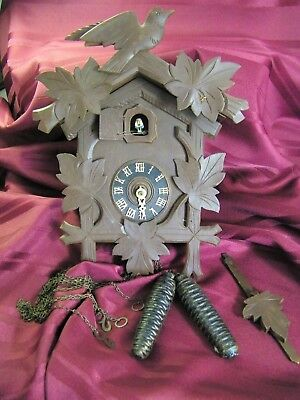 Authentic Hand Carved Black Forest  German Cuckoo Clock