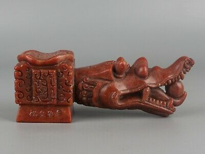 China Exquisite Hand-carved Dragon head carving Shoushan Stone statue seal