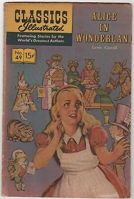 CLASSICS ILLUSTRATED: Alice In Wonderland HRN 167 In Very Good 4.0 Condition
