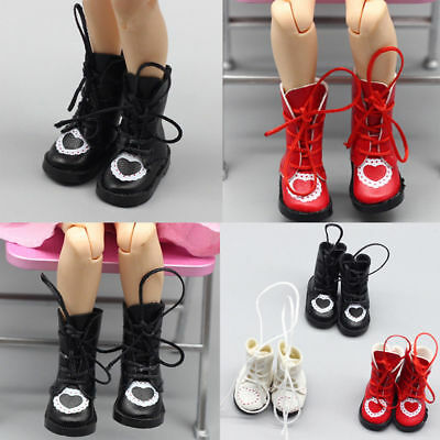 Handmade Exquisite Heart PU Leather Doll Boots For Blythe Doll Shoes Doll 1/6
