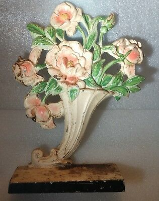 Antique Victorian Era Cast Iron Cornucopia W/ Flowers Door Stop 10 X 7.5 X 2.5