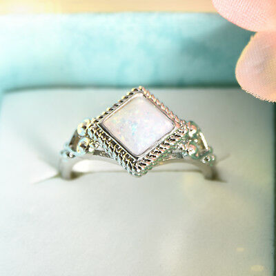 925 Silver Ring Woman Silver Fire Opal Moon Stone Wedding Engagement Size6-10