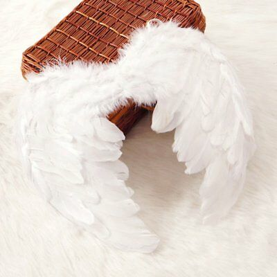 White Feather Fairy Angel Wings Party Fancy Dress Costume Accessory 45*35cm RB