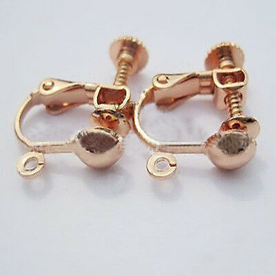 2Pcs Plated Brass Clip On Screw Back Earring Findings Open Loop & Ball