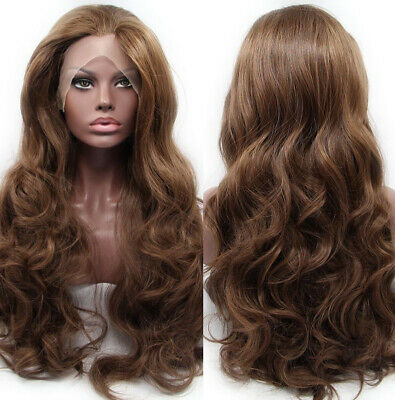 """AU 24"""" Synthetic Fiber Hair Lace Front Wig Fashion Women Wavy Long Brown"""
