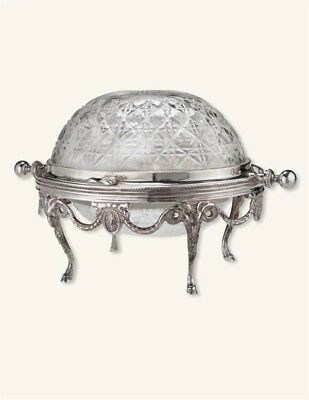Victorian Trading Co Silverplate & Cut Glass Dome Lidded Serving Dish