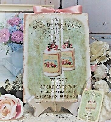 "Shabby Chic Vintage French Country Wall Decor Sign ""Rose de Provence..."""