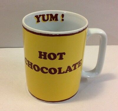 Vintage Hot Chocolate Mug Yum! Konitz Germany Bonjour Yellow Coffee Cup