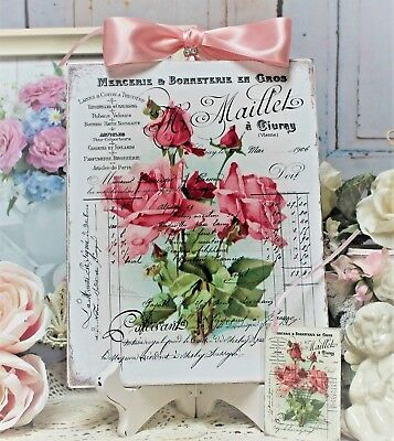 "Shabby Chic Vintage French Country Wall Decor Sign ""Vintage Rose..."""