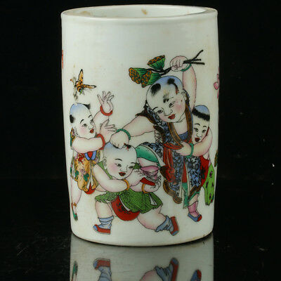Chinese Porcelain Hand-Painted Childrens Brush Pot W Qianlong Mark