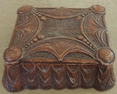 Vintage Syroco Pressed Wood Lidded Box Composition Material Art Deco Design