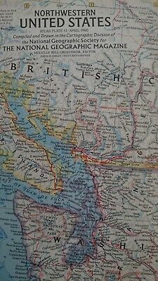 Vintage National Geographic 1960 Map of Northwestern United States-Atlas Plate11