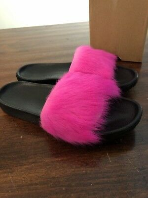 5c8f230a5c3 UGG AUSTRALIA ROYALE Neon Pink TOSCANA FLUFFIE SLIDE SLIPPERS WOMENS ...