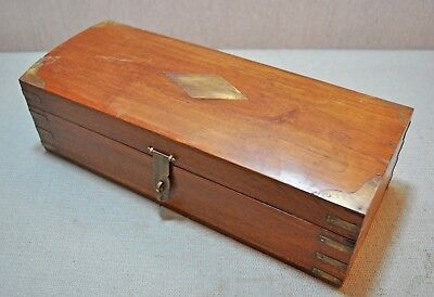 Original Old Vintage Hand Crafted Brass Fitted Decorative Wooden Storage Box
