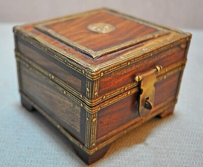 Original Old Vintage Hand Crafted Brass Fitted Jewellery Box