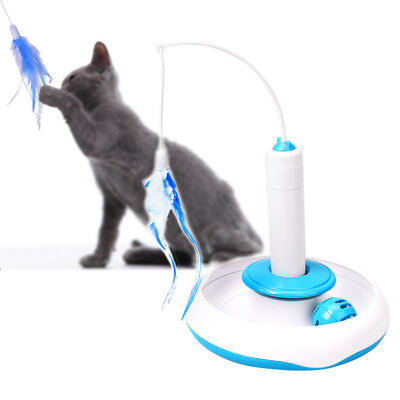 Pet Cat Electric Rotating Toys Teaser Interactive Cats Toy Feather Playing Toys