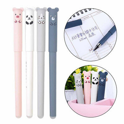 2PC Cute Kawaii Cartoon Cat Gel Ink Pen Ballpoint 0.35mm Blue Ink Student Pens