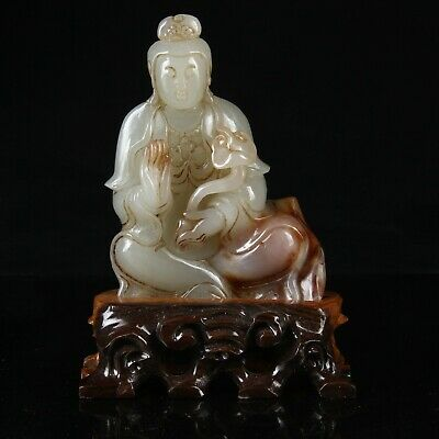 Chinese Exquisite Hand-carved Guanyin carving Hetian jade statue