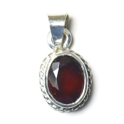 Natural Hessonite Garnet 925 Silver Sterling 3 Carat Pendant Jewelry Red Stone
