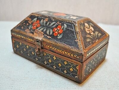 Original Old Vintage Hand Crafted Floral Painted Wooden Jewellery Box