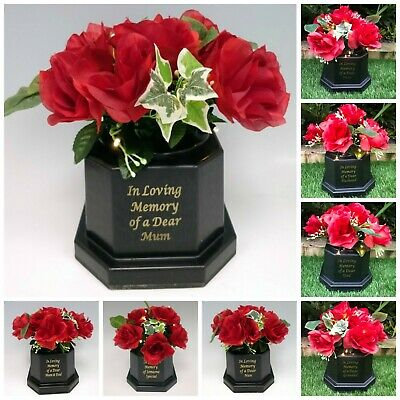 Silk Rose Light Up Memorial Grave Flower Pot Vase Tribute Black Insert Graveside